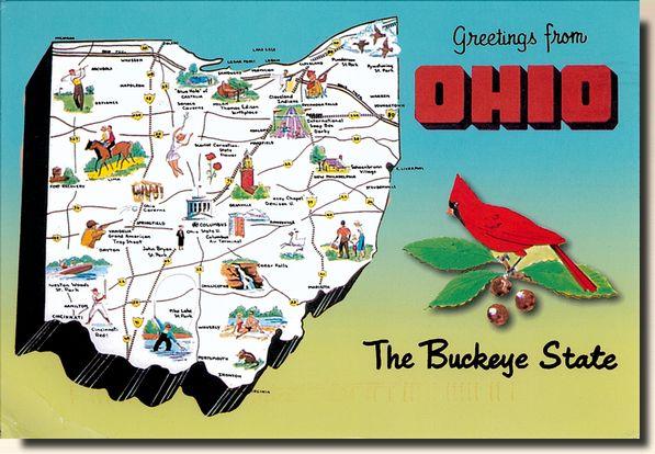 Cartes postales de l'Ohio, Etats-Unis. Postcrossing en France