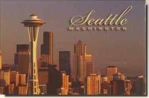 Une carte postale de Seattle, WA (Violet)