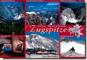 Une carte postale de Zugspitze (Evgenia voyage beaucoup)