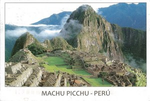 A postcard from Boston, MA (Lisa) showing Machu Picchu